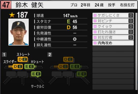鈴木健矢_日本ハムファイターズ_プロスピ能力データ_2021年開幕版_7月8日