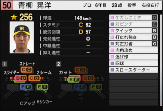 青柳晃洋_阪神タイガース_プロスピ能力データ_2021年開幕版_7月8日