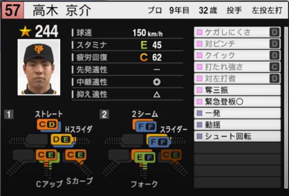高木京介_巨人_プロスピ能力データ_2021年開幕版_7月8日