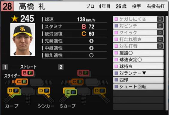 髙橋礼_ソフトバンクホークス_プロスピ能力データ_2021年開幕版_7月8日